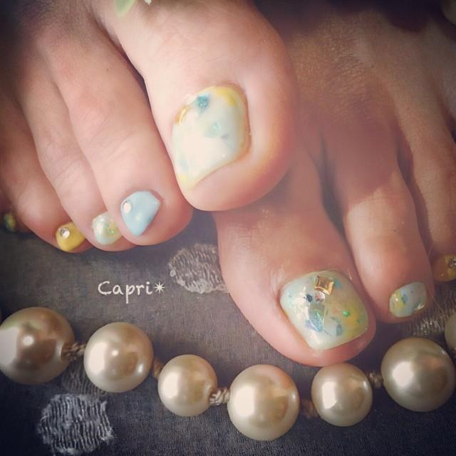 爽やかなfoot nail。お客様のイメージに合わせて。今日もツヤツヤな美脚になられました。