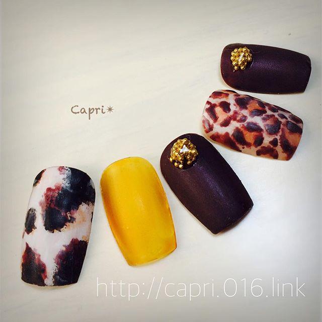 アニマル柄ネイル。オシャレ女子が好きなアニマル柄(^^)チョコレート色と合わせてもgood!!これからの季節にいかがでしょうか️~