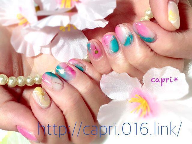春の予感nail ブルーとピンクのコントラスト。少しぼかして春風のようにそろそろ桜も満開ですねhttp://capri.016.link/#唐津ネイル#capri#春nailおすすめ!